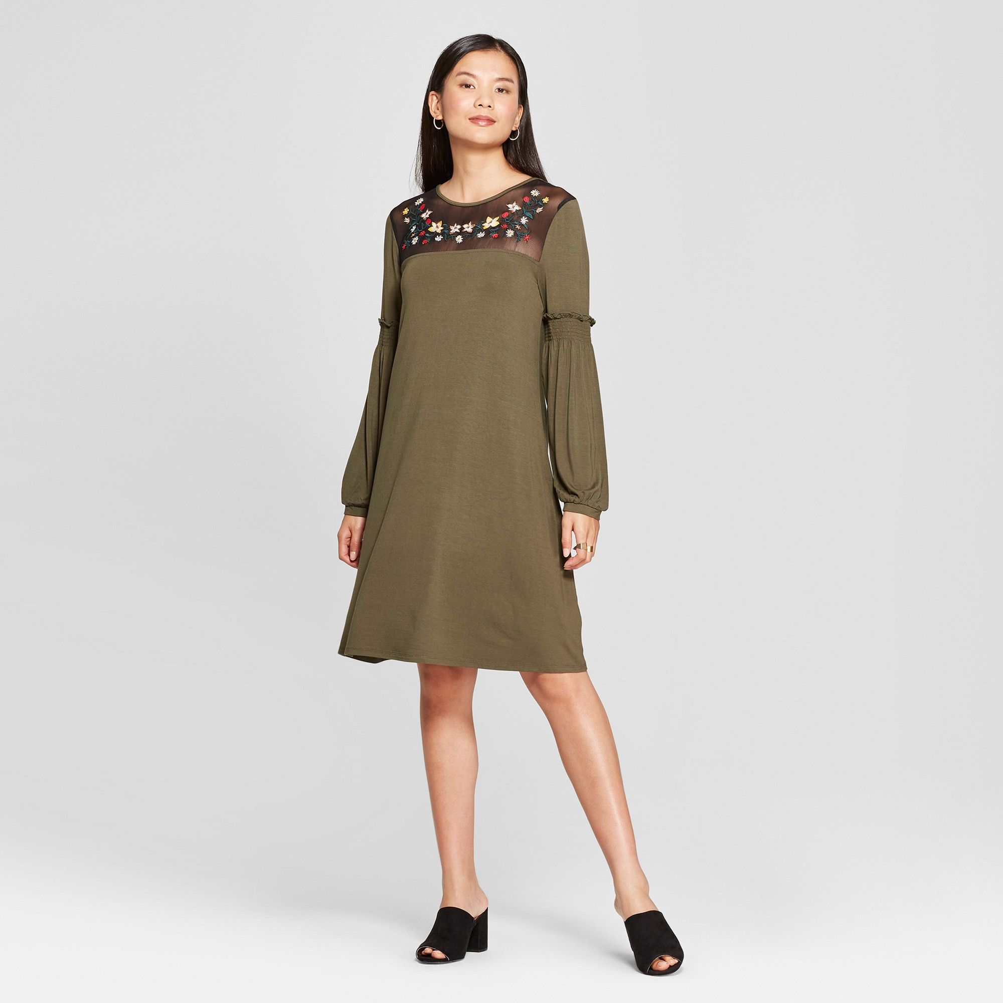 48d7ed3c7649 Women's Embroidered Yoke Knit Shift Dress - Spenser Jeremy - Olive XL, Green