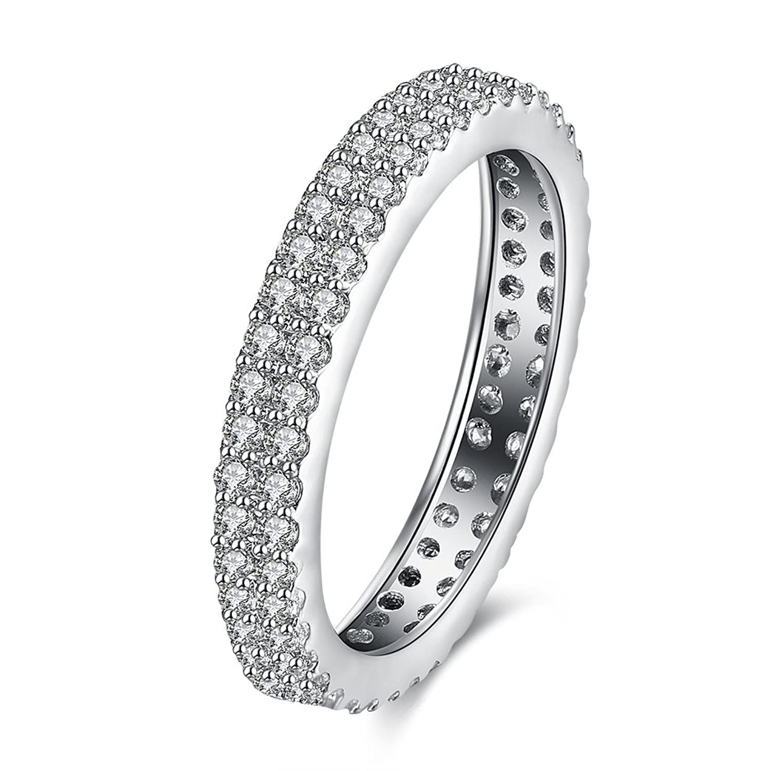 3mm Infinity Double Row Clear Stone 18K White Gold IP