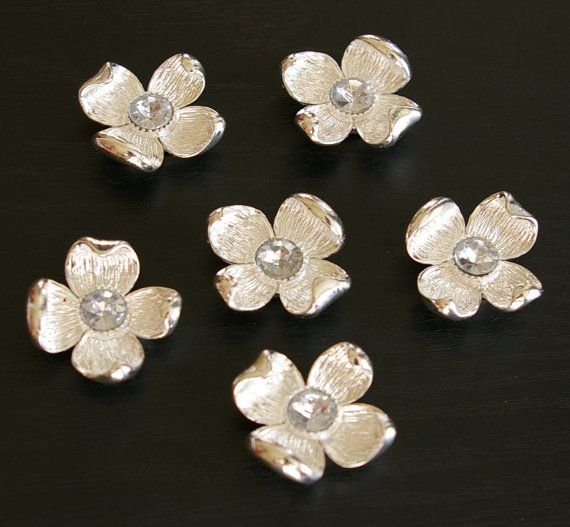 6 pc - Rhodium Plated Dogwood flower Rhinestone two hole connector, link, charm, Pendant -Lead and Nickel free