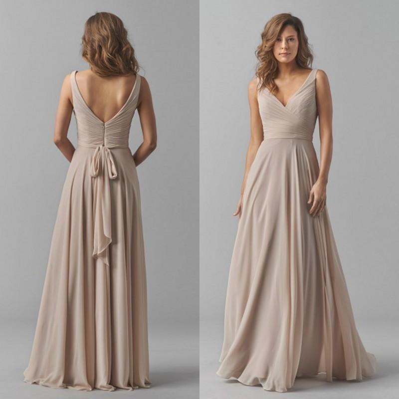 2015 Fall Bridesmaids Formal Dresses Sexy Deep V Neck Elegant Long