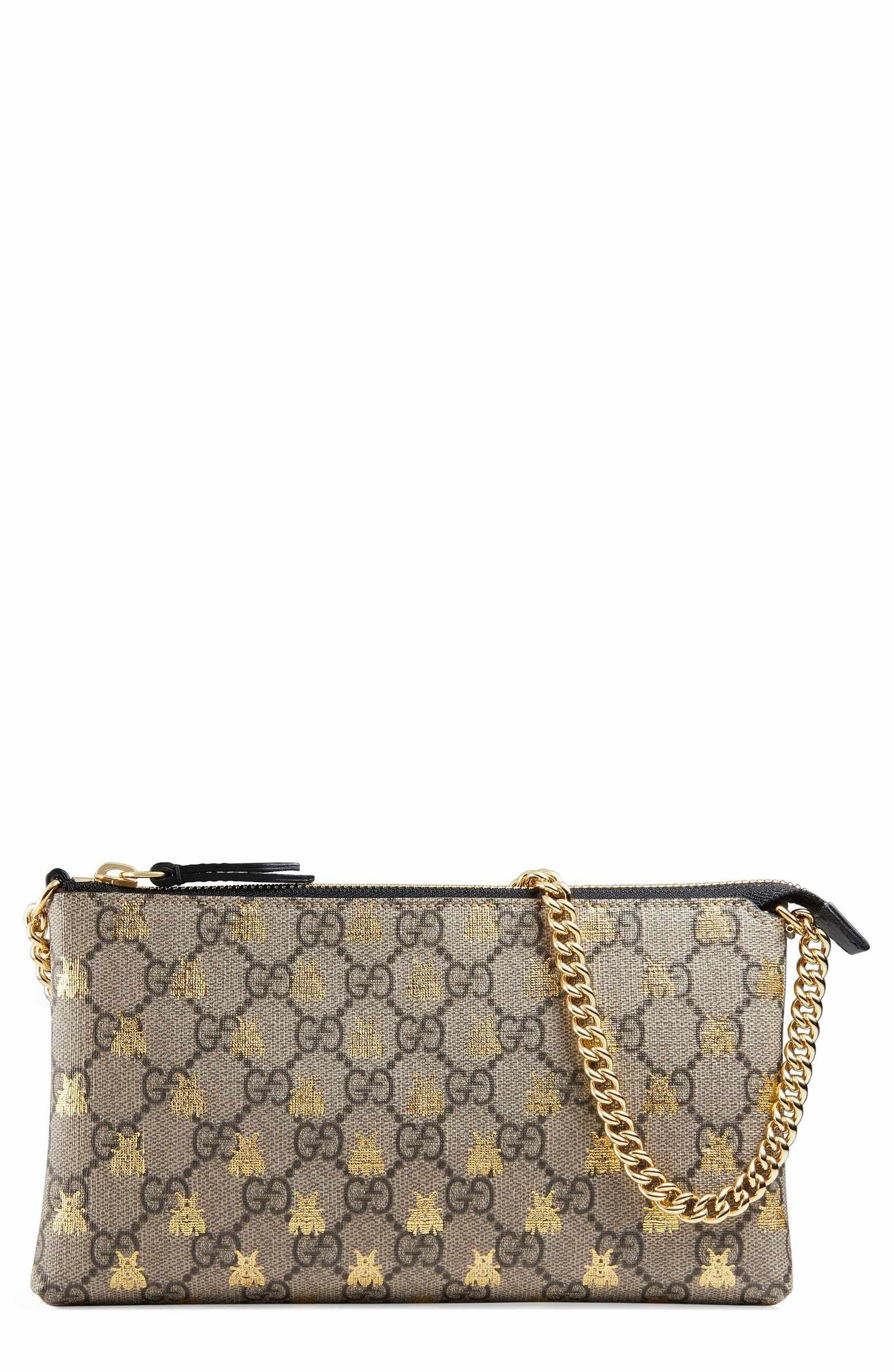 ac6b51687d7 Main Image - Gucci Linea Bee GG Supreme Wrist Wallet