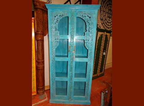 Armoire Bibliotheque Vitree Turquoise Meuble Indien Et Decoration
