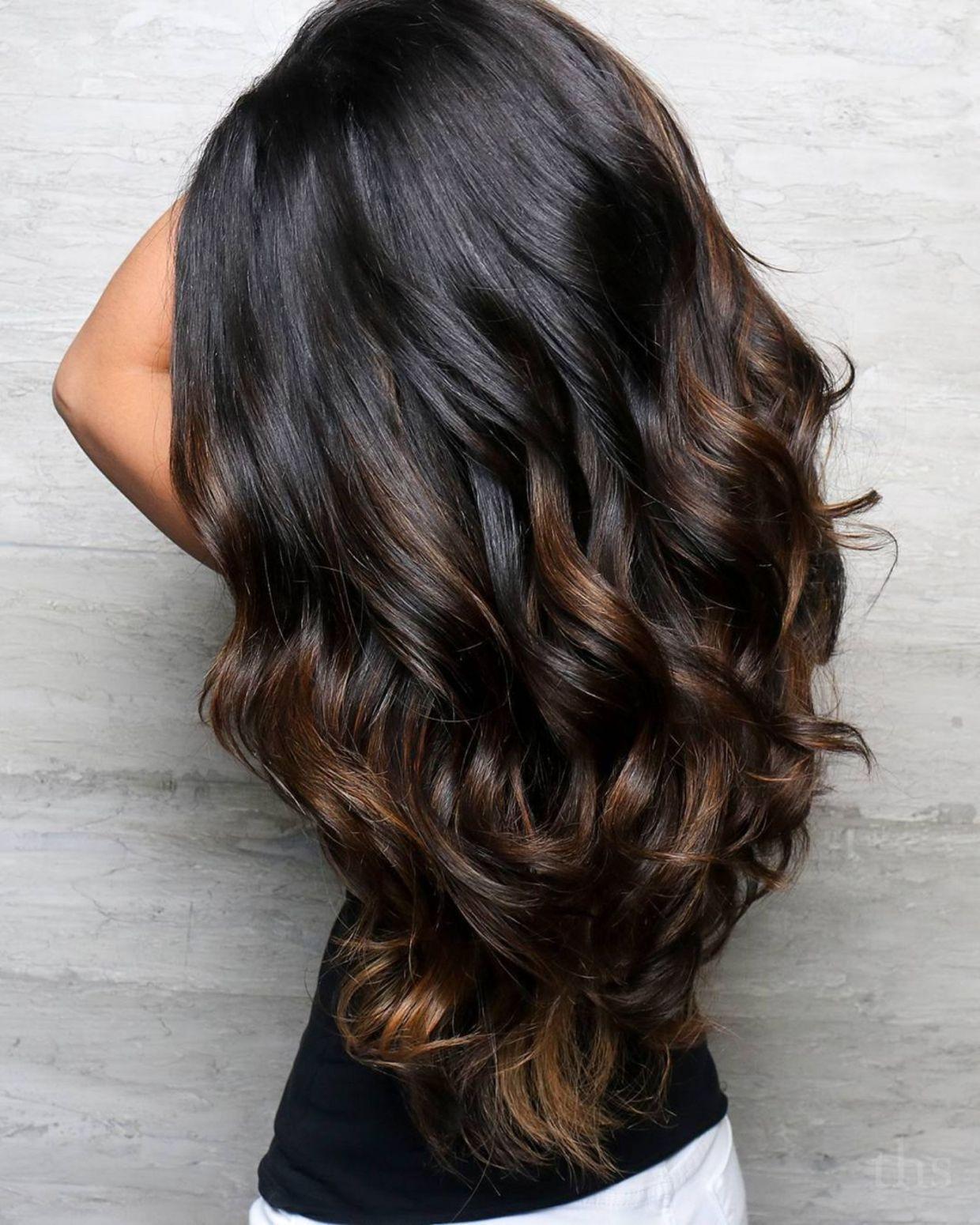 Long Dark Hair With Brown Highlights Balayage Hair Black Hair Balayage Balayage Hair Dark Black