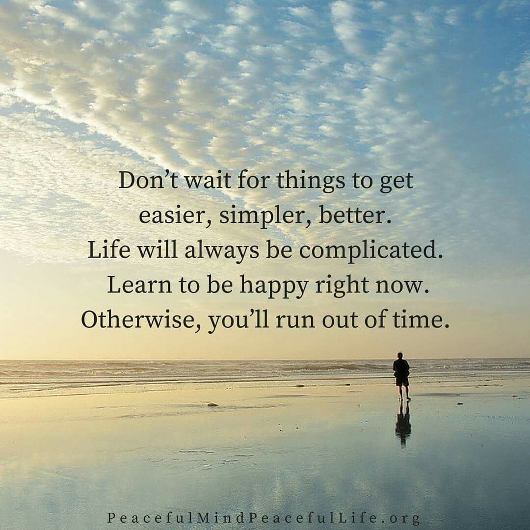 Don't wait for things to get easier, simpler, better. Life will