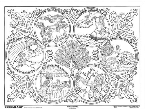 mexican art coloring pages doodle art greek gods coloring page 500x375 jpeg