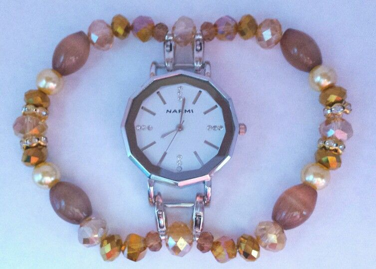 Dodecagon white watch face with light tan beads accented with gold crystals and cream pearls