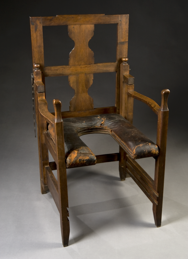 "Antique Birthing Chair The exact date of this particular ""parturition chair""  isn't noted by London's Science Museum, but they say these types of seats  were ... - Antique Birthing Chair [2 Pictures] History Pinterest History"