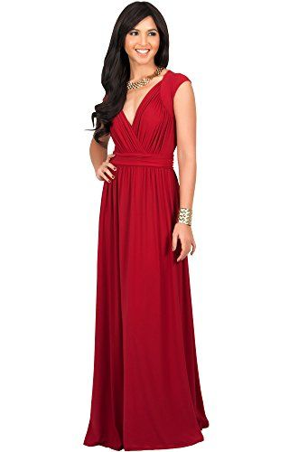 2283914c6569b KOH KOH Plus Size Womens Long Cap Short Sleeve Cocktail Evening Sleeveless  Bridesmaid Wedding Party Flowy V-Neck Empire Waist Vintage Sexy Gown Gowns  Maxi ...