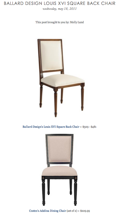 COPY CAT CHIC FIND: Ballard Design's Louis XVI Square Back Chair VS Costco's Adelina Dining Chair Set of 2