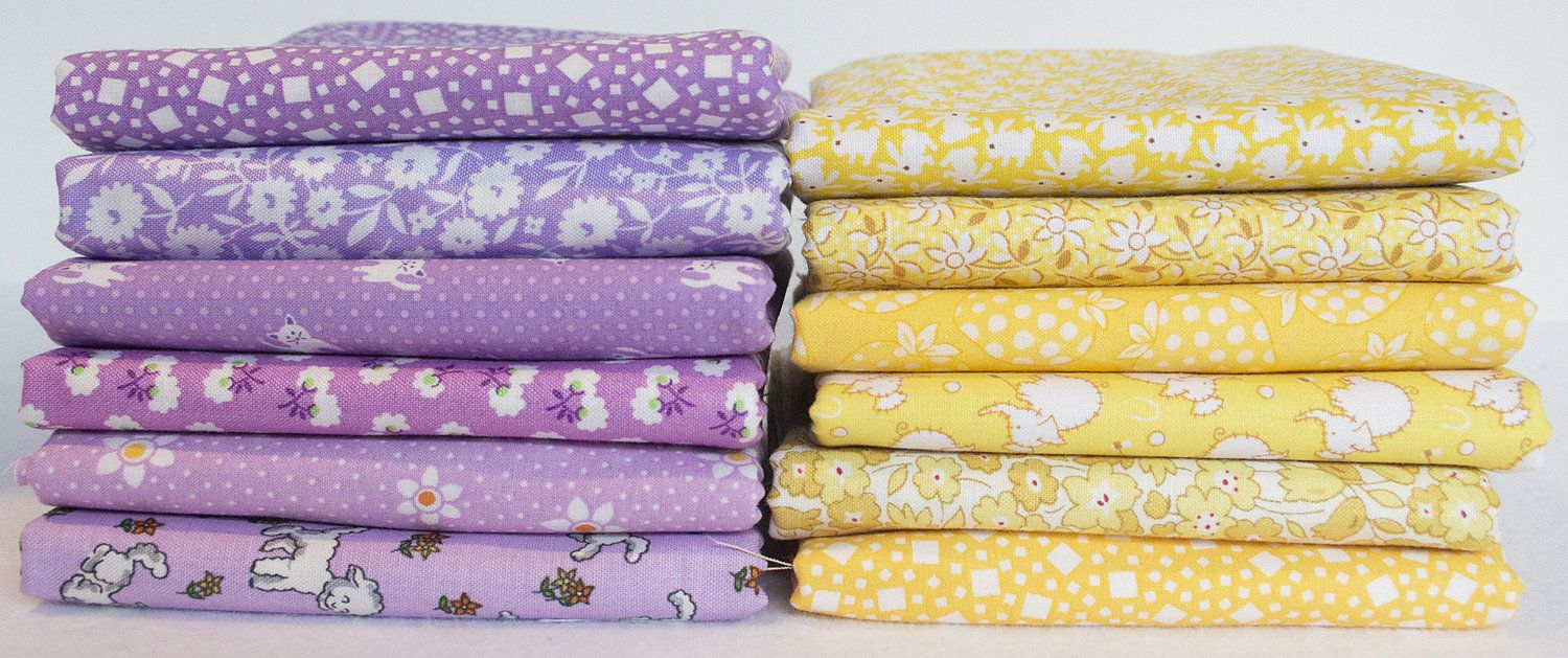 1930's Reproduction Fabric Bundle Purple & Yellow