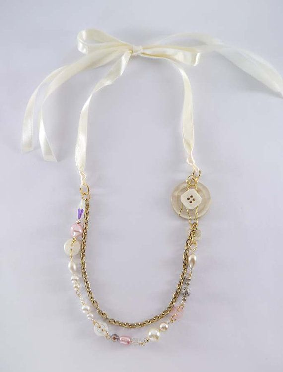Upcycled Double Strand Vintage Ribbon Necklace By Everygirlsstory 23 00 Vintage Ribbon Jewelry Ribbon Necklace