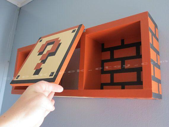 Gentil Super Mario Bros Shelf Shadow Box Shelf Home Decor By SpeakGeek
