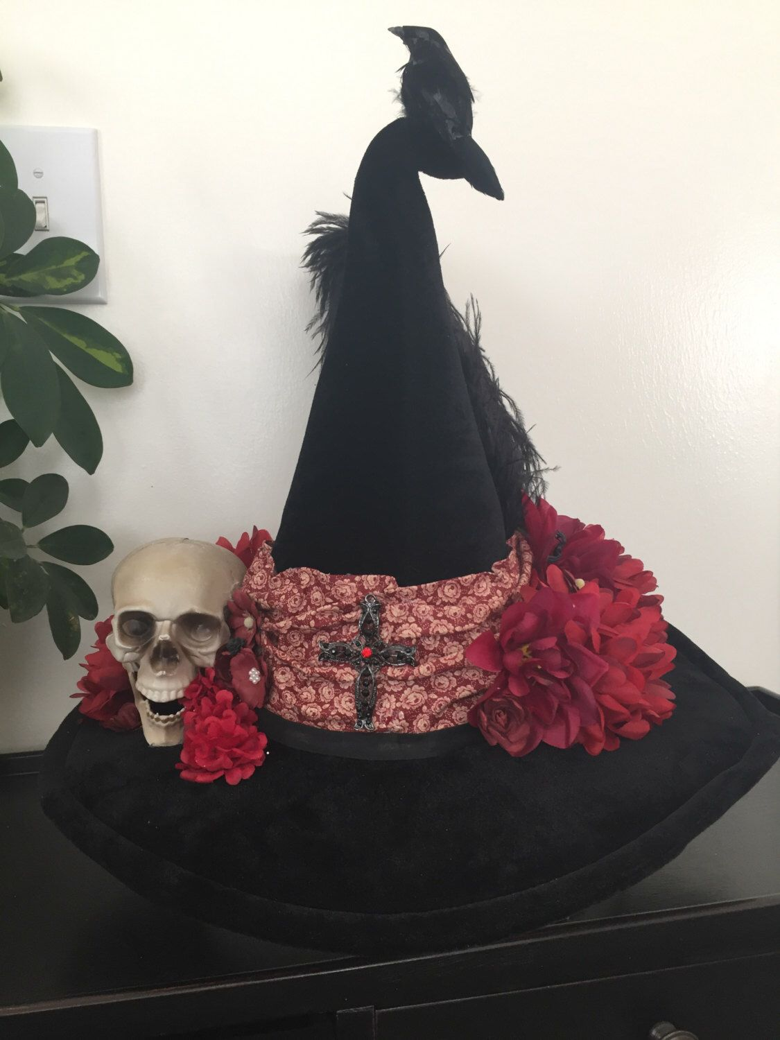 A personal favorite from my Etsy shop https://www.etsy.com/listing/468649642/redskull-witch-hat