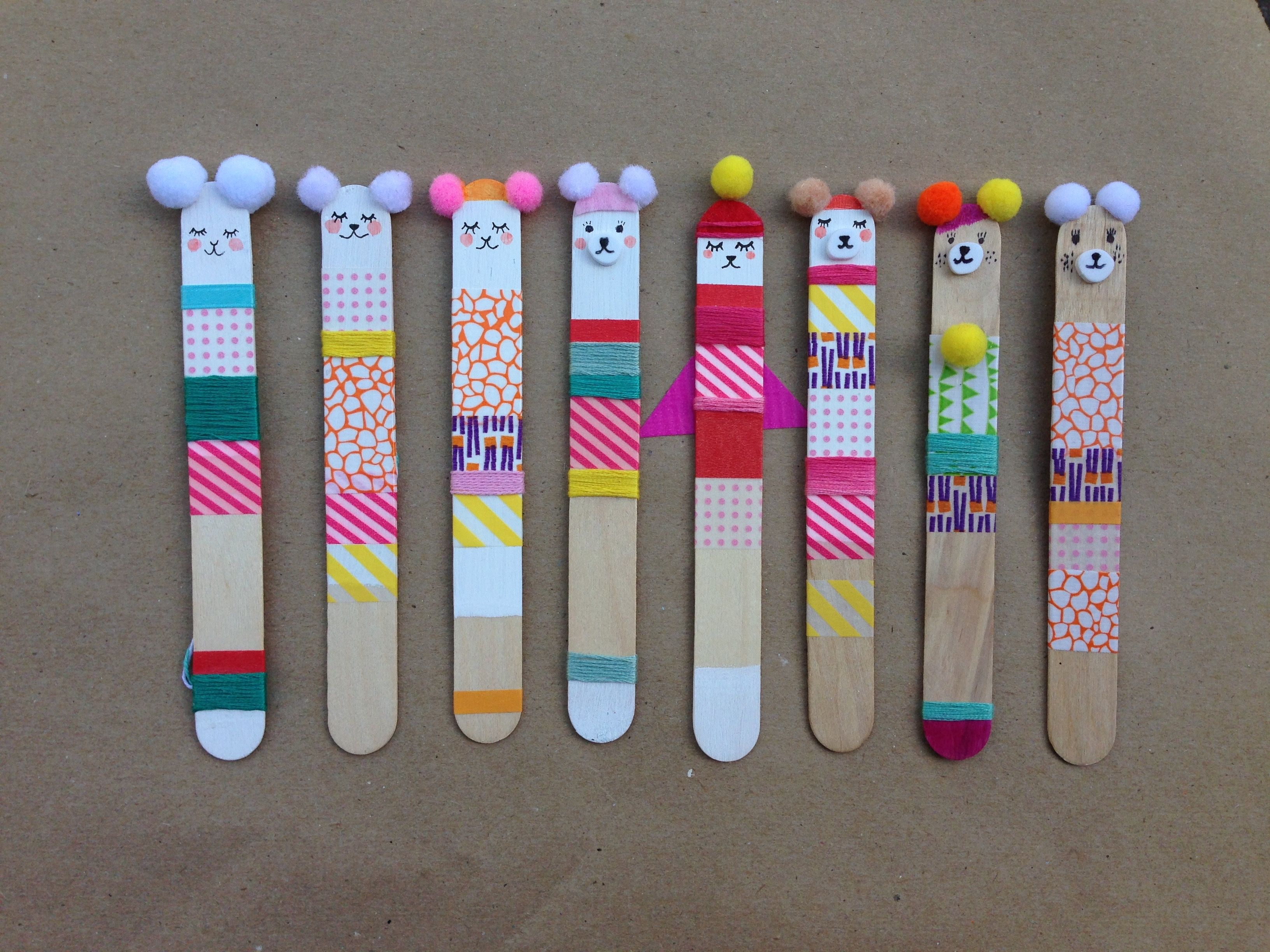 i made these with popsicle sticks, wash tape & pom-poms. we use them as bookmarks and christmas ornaments. -   24 popsicle stick bookmarks ideas