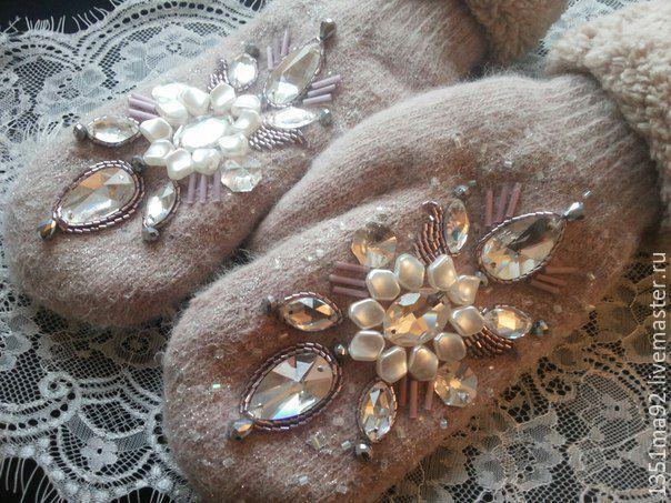 """Купить Варежки с вышивкой """"Морозный Закат"""" - варежки, варежки ручной работы, варежки женские"""