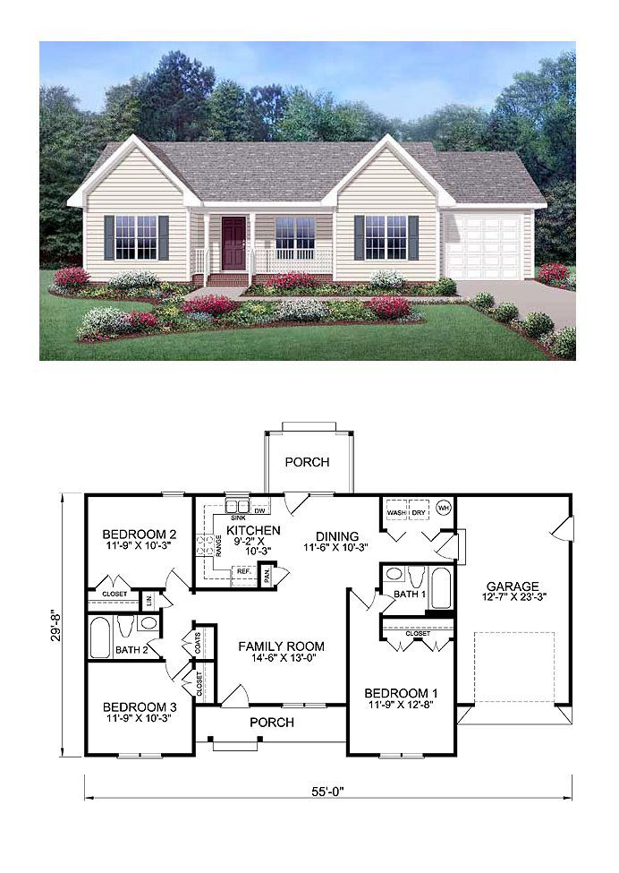 Exclusive Cool House Plan Id Chp 39172 Total Living Area 1150 Sq Ft 3 Bedrooms And 2 Bathroo Ranch Style House Plans Family House Plans Sims House Plans