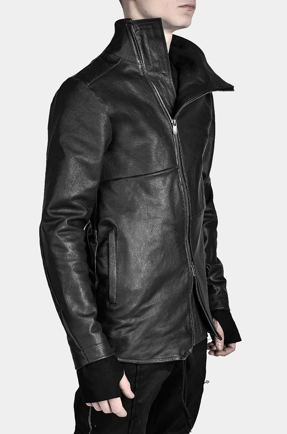 LEATHER HIGH COLLAR BIKER JACKET Stylish mens outfits