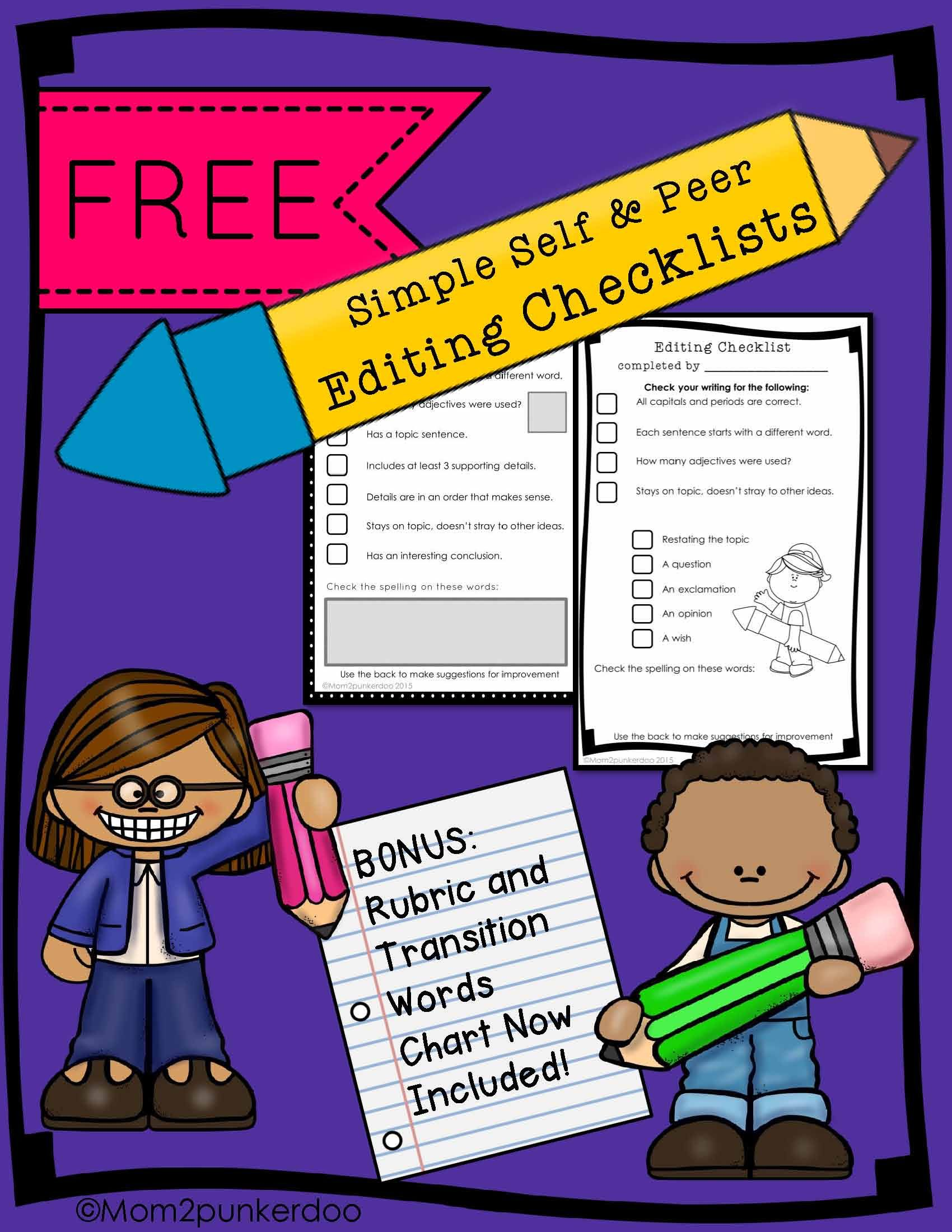Tools For Writers Peer Editing Checklist Feedback Rubric Reference List