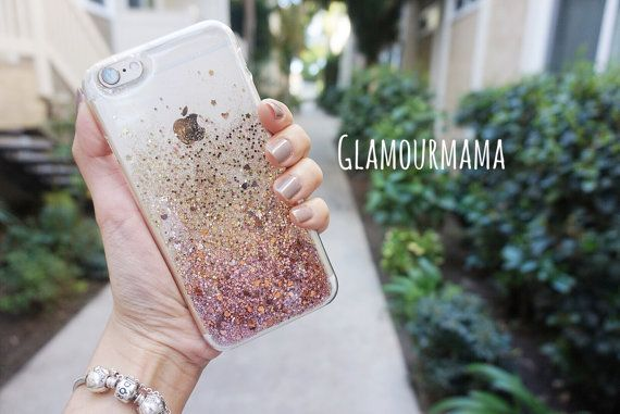 rose gold sweet heart  glitter acrylic iphone 6s by glamourmama