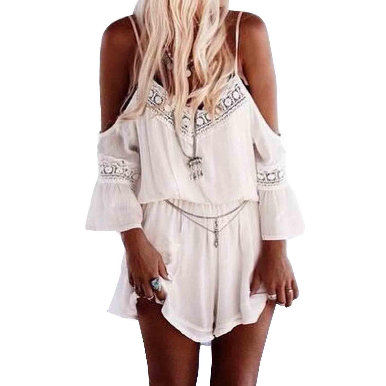 4a4da40180f SUNNOW® Bohème Robe Tunique Loose combinaison jumpsuit short pour femme   Amazon.fr  Vêtements et accessoires