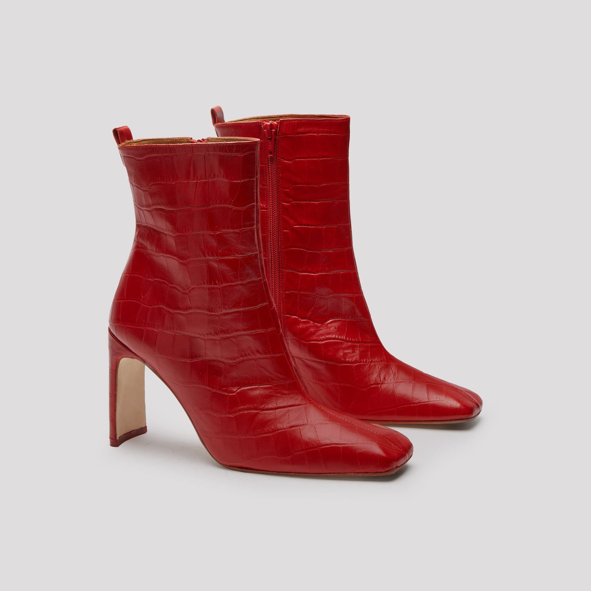 a94205d0369c7 Miista-Marcelle Red Croc Leather Boots- Winter Shoes For Women