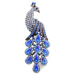 Vintage Style Sapphire Blue Peacock Austrian Crystal Brooch