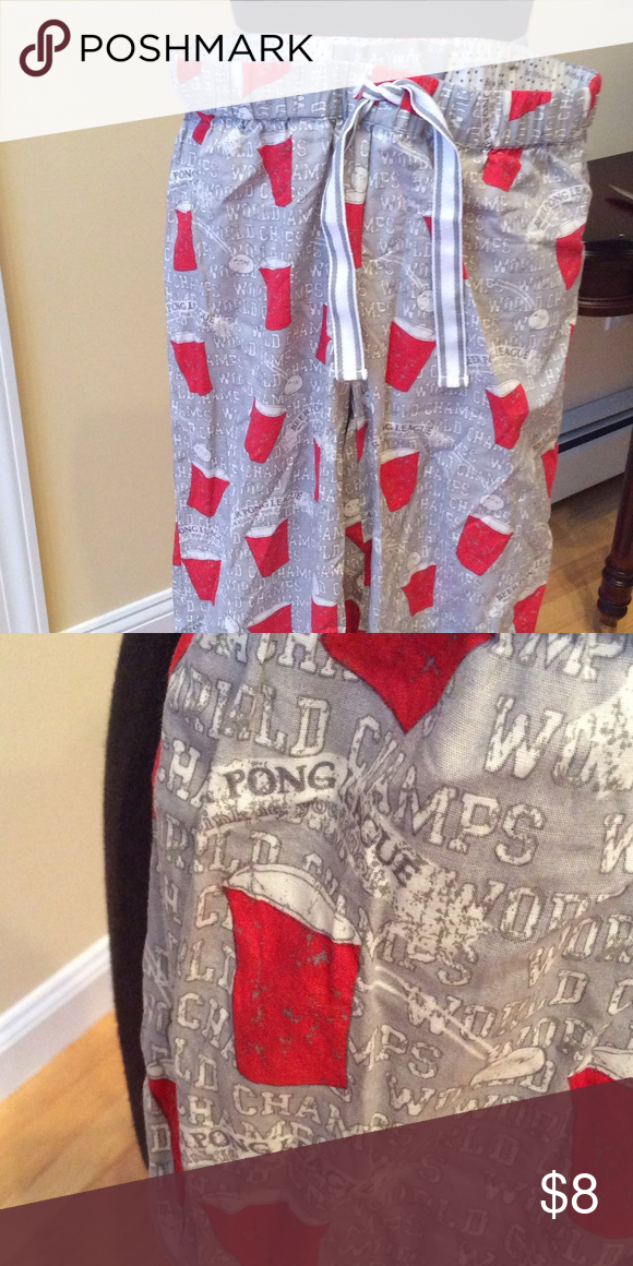 "Beer pong league pj/lounge pants. Size Small Beer pong lightweight pj/lounge pants. Says ""beer pong league"" with red solo cups and ping pong balls on it. Worn a couple of times. Be Who You Are Intimates & Sleepwear Pajamas"