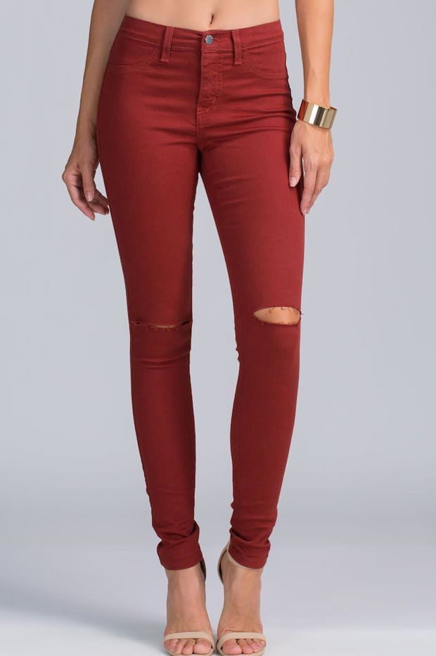 Daily Dose Slit Pants Jeans - Burgundy