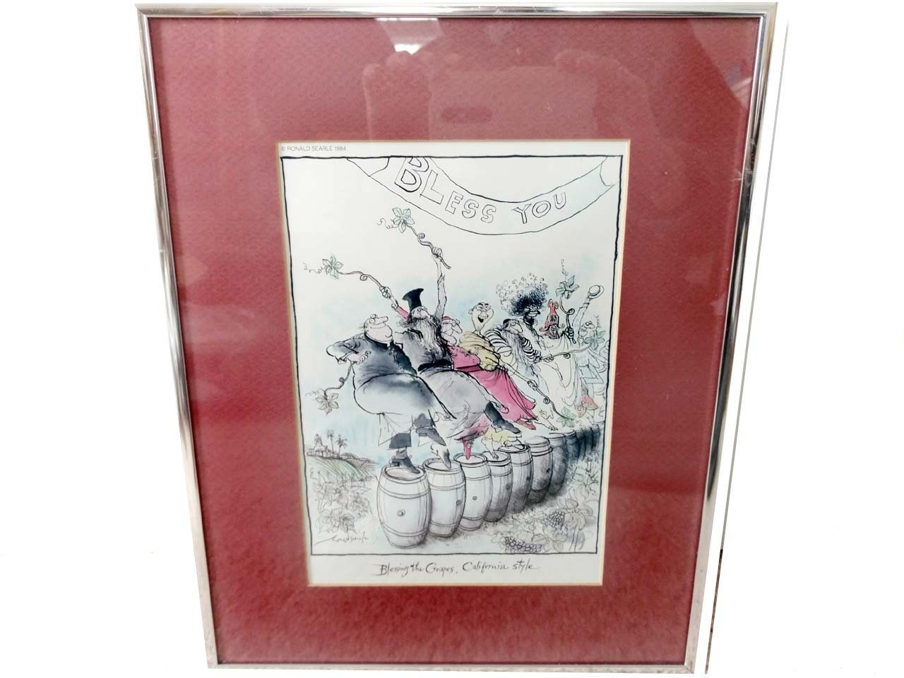 Ronald Searle Wine Print Blessing The Grapes California Style Framed Wall Hanging Silver Metal Picture Frame 14 Wine Print Metal Picture Frames Frames On Wall