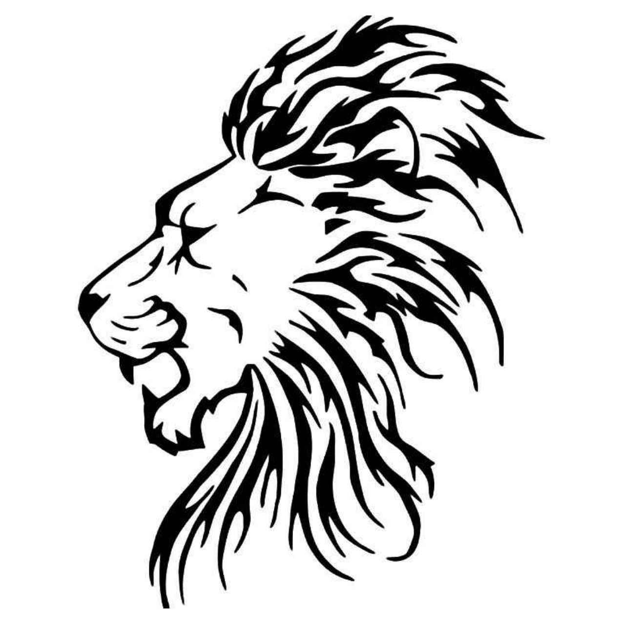 Roaring Lion Decal Sticker Black, 14 inch Exterior