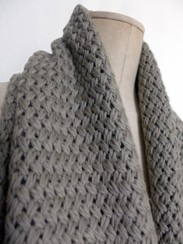 Echarpe en laine, tricot main au point de vannerie, beige écru ... 8013633d22b