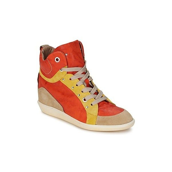 Manas - Shoes (High-top Trainers) ($210) ❤ liked on Polyvore featuring shoes, sneakers, high top trainers, women, leather high top sneakers, orange sneakers, high top leather shoes, yellow high tops and leather sneakers
