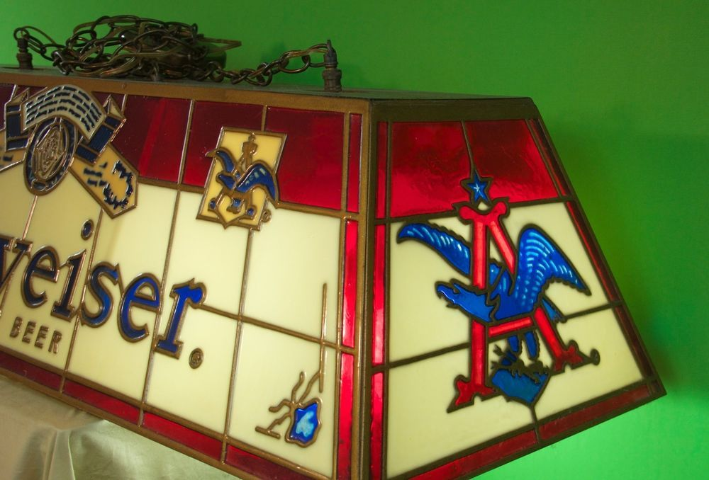Vintage 1972 Stained Glass BUDWEISER Pool Table Light    Beer    For Sale,