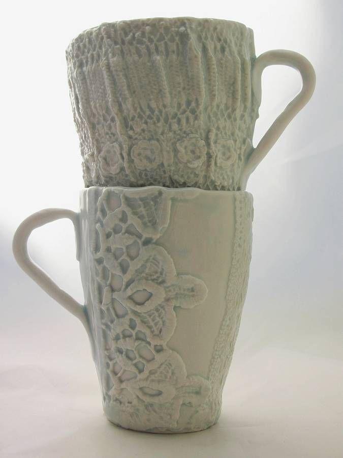 lace or crochet detail porcelain cup