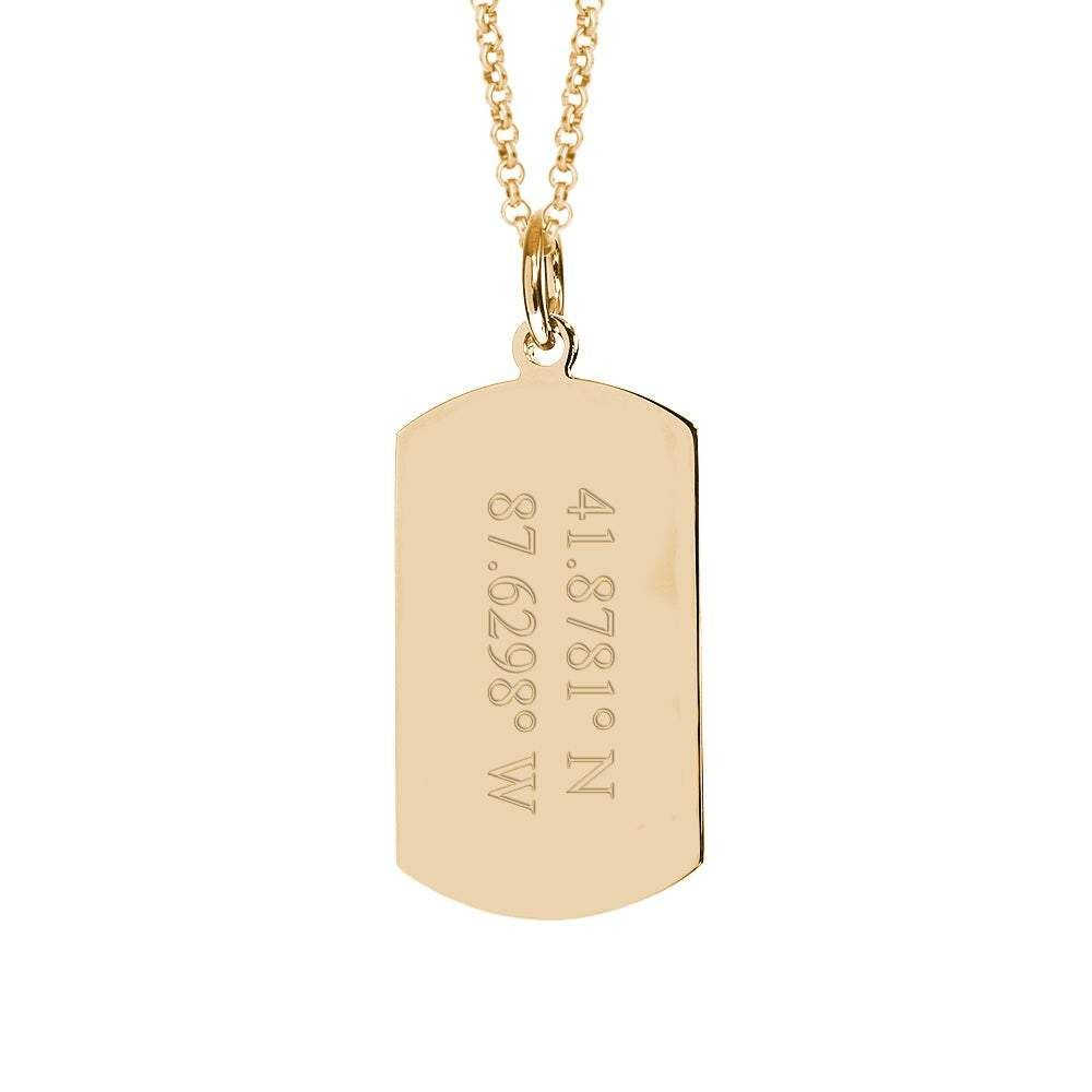 Coordinate Gold Dog Tag Necklace-horz. 2 line coordinate