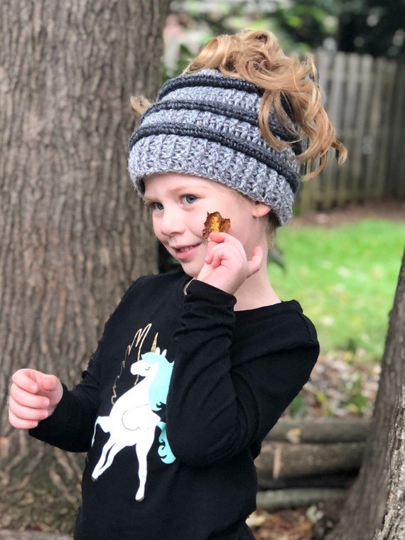 CROCHET PATTERN Cadence Messy Bun Hat // Messy Bun Beanie Crochet // Beanie Crochet // Toddler Child Adult Messy Bun Hat Crochet #messybunhat