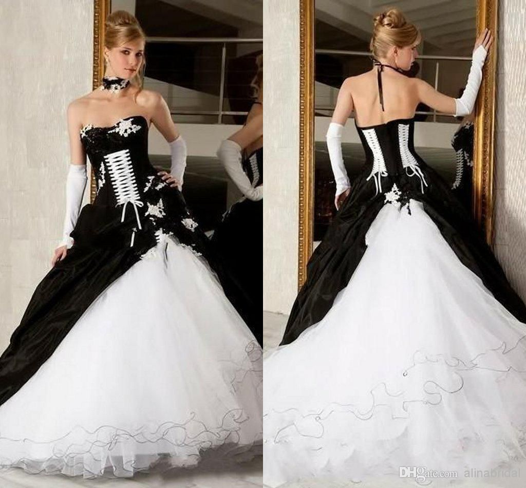 Black And White Ball Gown Gothic Wedding Dresses Sexy Corset ...