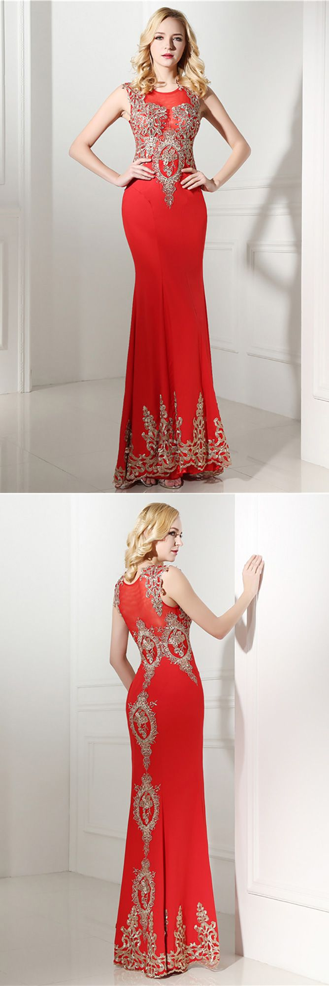 bodycon red formal dress long with applique lace h