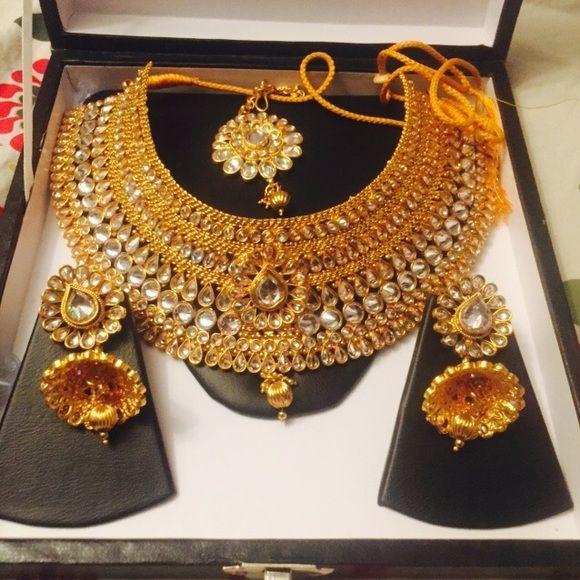 Golden Indian Pakistani Bridal Set Bridesmaid Jewelry Sets Bridal Sets Pakistani Bridal Jewelry