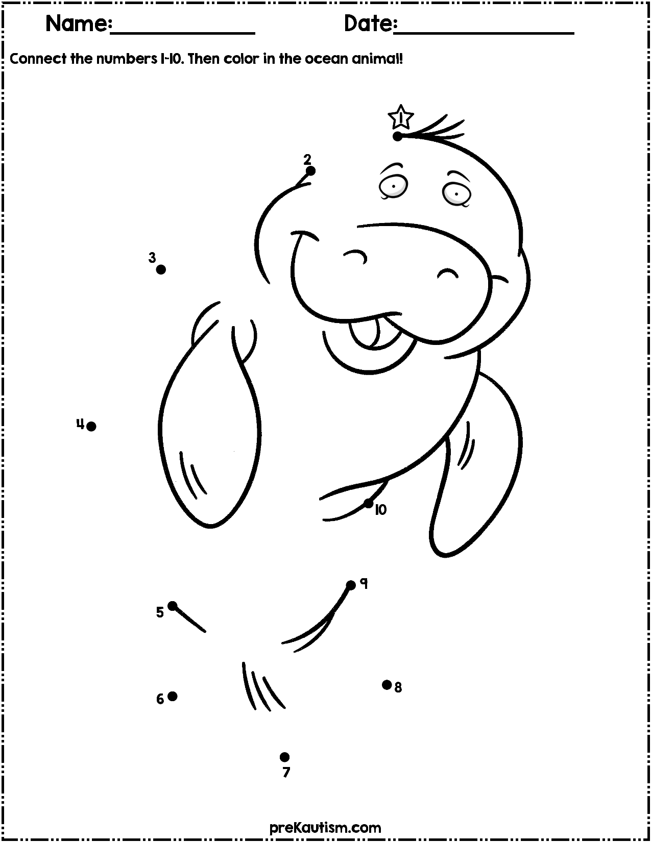 Ocean Animals Dot To Dot Worksheets Numbers 1 10 Dot Worksheets Ocean Animals Autism Activities [ 1650 x 1275 Pixel ]