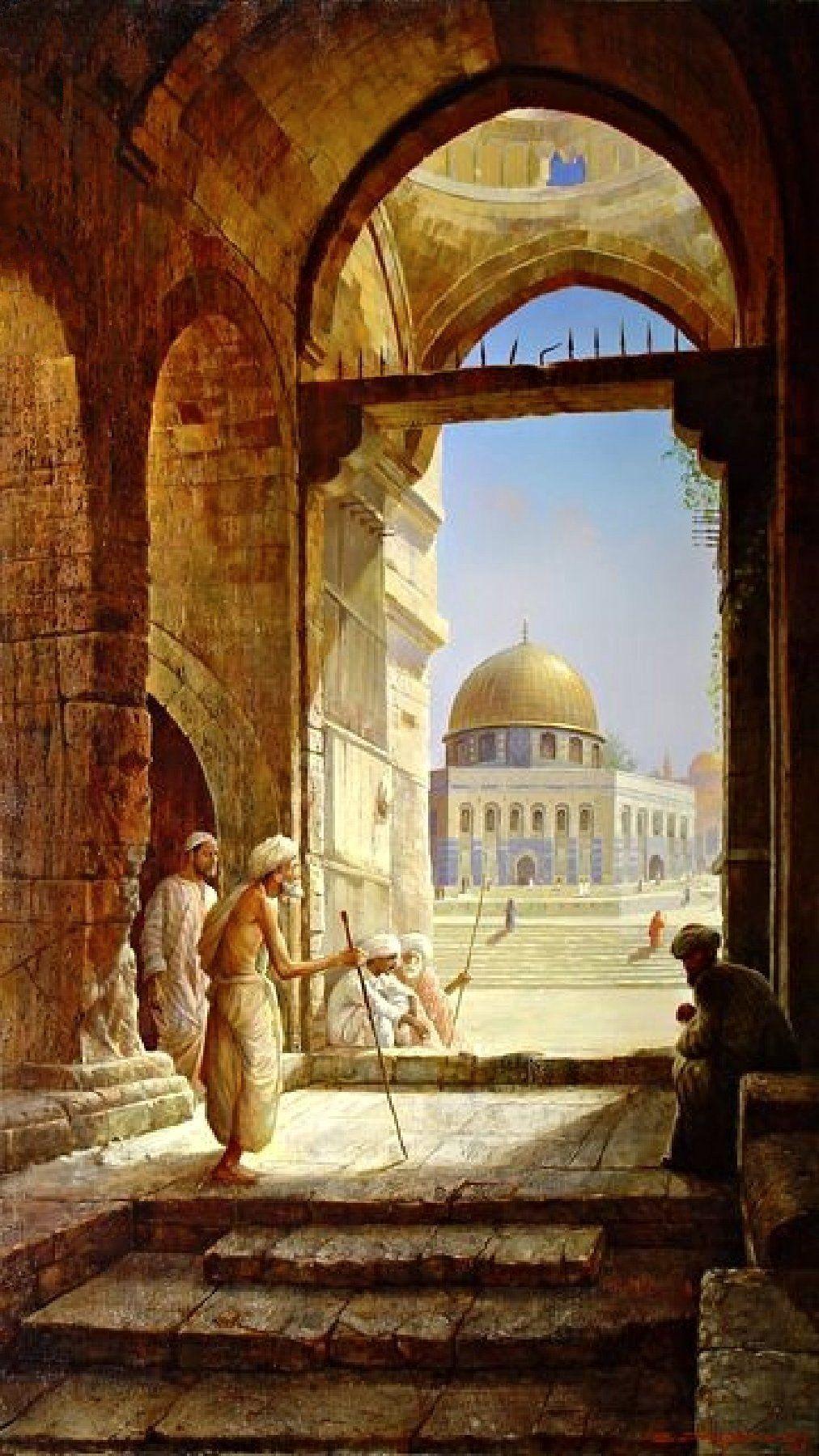 Al Aqsa Mosque Paintings Seni Islamis Lukisan Gambar
