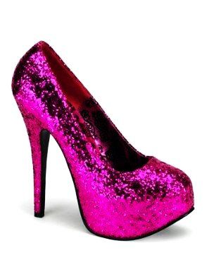 Pink sparkly high heeled shoes