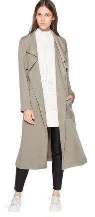 White long sweater+black leather look leggins+white sneakers+pale brown trenchcoat. Fall Casual Outfit 2016