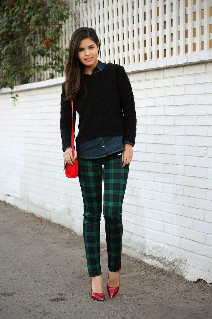 4ee59f9b85 02-tartan-plaid-trousers-pants-denim-shirt -asos-red-bag-cross-body-sweater-knit-red-pumps-zara