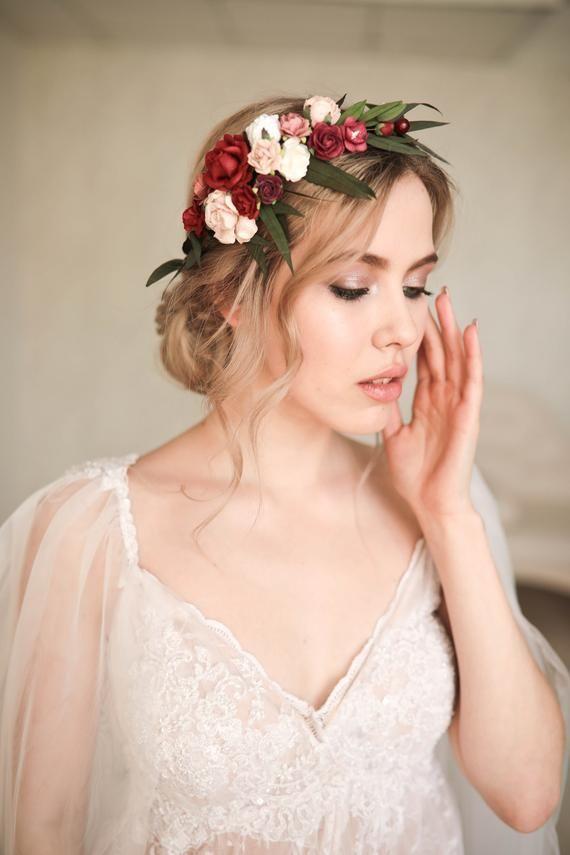 Burgundy blush pink flower crown Eucalyptus floral hairpiece Bridal hair wreath Wedding flower crown -   18 hair Bridesmaid how to ideas