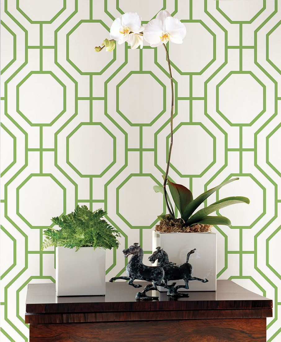 Emerald green geometric wallpaper via a street prints for Designer wallpaper mural