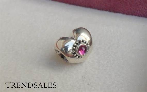 Pandora charm, with Rhololith stone in the middle of the heart, 790573RHL