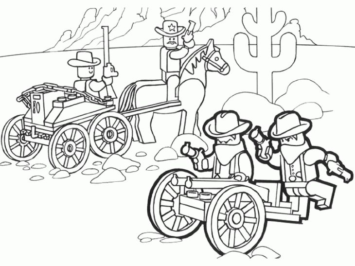 lego southwest and cowboy coloring page free printable for kids