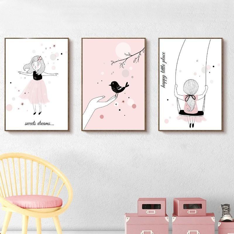 3 Modern Rainbow Heart Star Cloud Prints Girl/'s Nursery Room Wall Art Decor