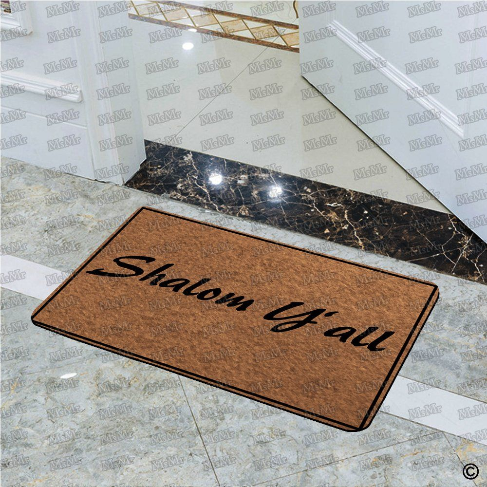 Msmr Doormat Entrance Floor Mat Shalom Yall Door Mat Home And Office Decorative Indoor Outdoor Door Mat 30x18 Inches F Outdoor Door Mat Door Mat Floor Mats